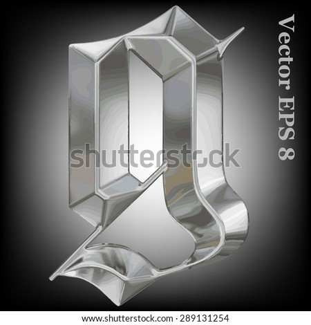 Vector letter g from metal gothic alphabet. Lovercase metal font collection EPS 8 - stock vector