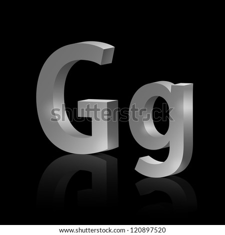 Vector letter G of metallic design alphabet