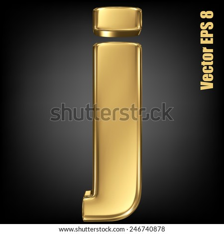 Vector letter j from gold solid alphabet. Lowercase golden font collection. EPS 8 - stock vector