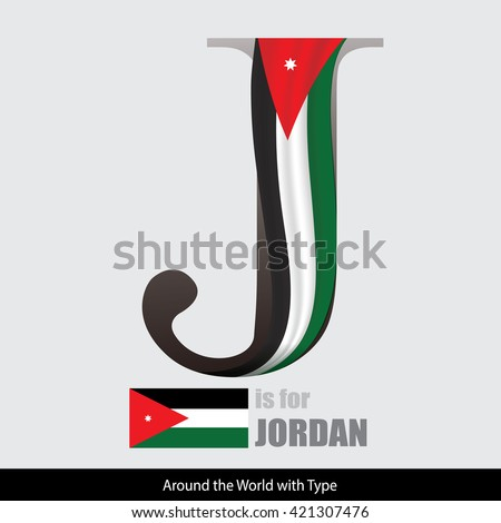 Vector Letter J Is For Jordan Flag. Design Matches Letters Of The Alphabet  With Name