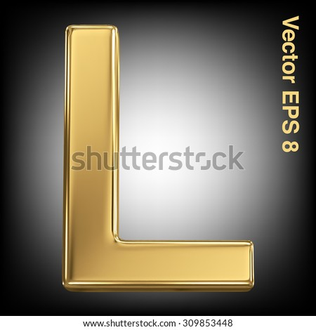 Vector letter L from gold solid alphabet. Eps 8 using mesh. - stock vector
