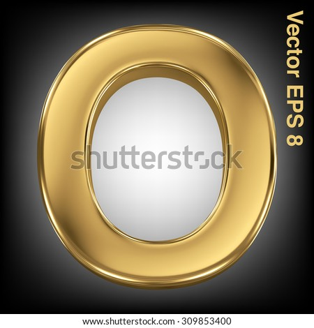 Vector letter O from gold solid alphabet. Eps 8 using mesh. - stock vector