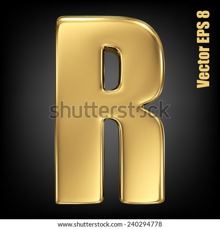 Vector letter R from gold solid alphabet. Uppercase golden font collection. EPS 8 - stock vector
