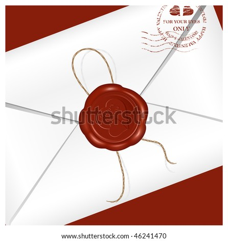 Vector. Letter with wax seal. Happy Valentine!