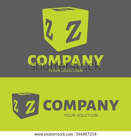 Vector letter Z logo. Grey and green versions of the logo Z. - stock vector