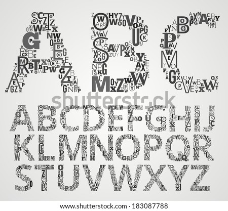 Vector Lettering Alphabet Set. Letters makes from different fonts Letters. - stock vector