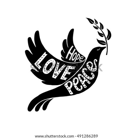 Vector Lettering Illustration Dove Peace Values Stock