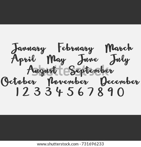 Vector Lettering Months Names Set Cute Agenda Calendar Typography Calligraphy Postcard Poster Flyer Advertising