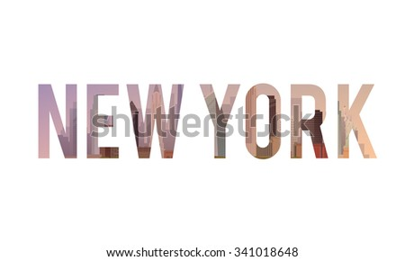 Vector lettering of the urban landscape of New York. Cityscape. Skyline. Flat design. - stock vector