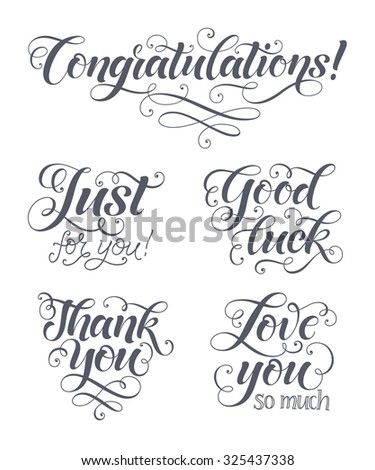 Vector lettering set for invitation and greeting card, prints and posters. Hand drawn inscription, calligraphic design - stock vector