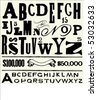 Vector letters and alphabet for creating old fashioned documents. - stock vector