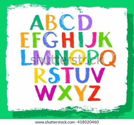 Vector letters of the English alphabet drawn with crayons.