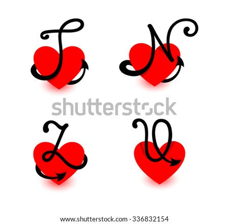 N Alphabet In Heart Vector letters. T.N.Z.U. Red heart. Love alphabet. - stock vector
