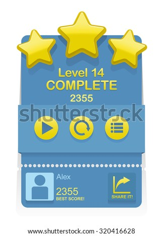 Vector Level Complete design element for game interface  - stock vector