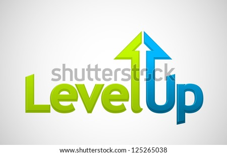 Vector level up message, growth symbol - stock vector