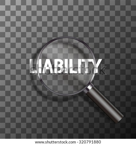 vector liability word in magnifying glass on sample background - stock vector