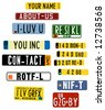 vector license plate graphics with acronyms - stock vector