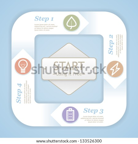 Vector life cycle diagram . Infographic eco modern soft color design template - stock vector