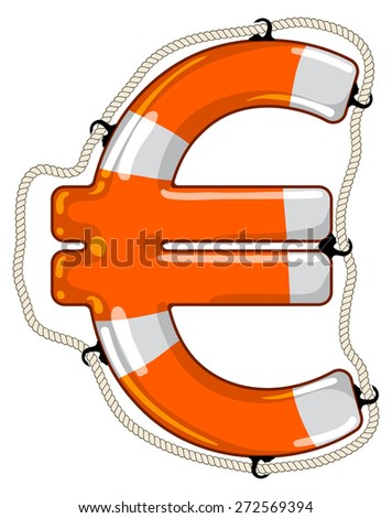 Vector lifebuoy in the shape of a Euro sign is a symbol of economy saving by investment fund to provide economy growth - stock vector