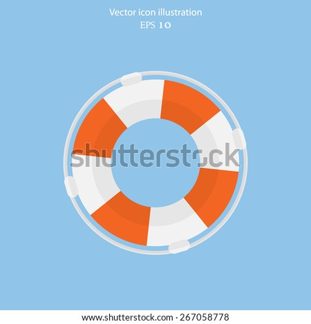 Vector lifebuoy web flat icon. Eps 10. - stock vector