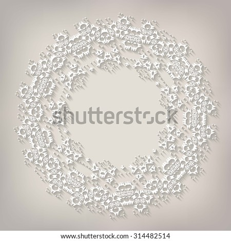 Vector light beige paper christmas snowflake on a beige background - stock vector