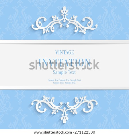 Vector Light Blue Floral 3d Christmas and Invitation Cards Background - stock vector