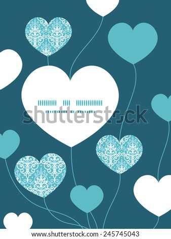 Vector light blue swirls damask heart symbol frame pattern invitation greeting card template