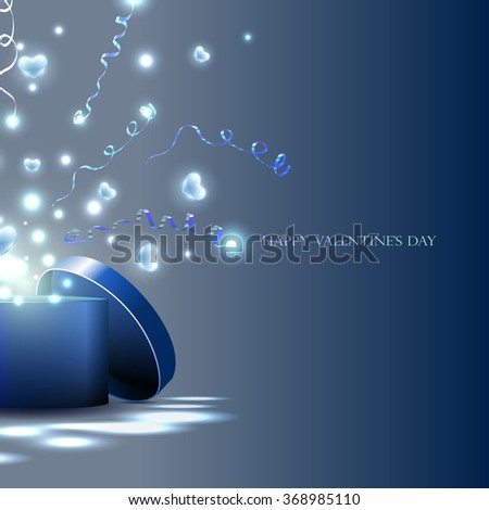 vector,  light box and  hearts,  streamers, gift for the holiday. Hearts fly out of the box, the explosion of hearts and serpentine - stock vector