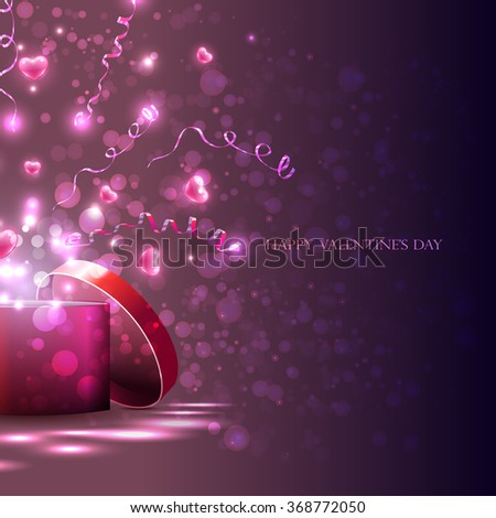 vector,  light box and pink  hearts,  streamers, gift for the holiday. Hearts fly out of the box, the explosion of hearts and serpentine - stock vector