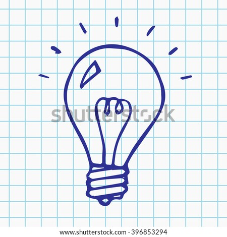 Vector light bulb doodle symbol, hand drawn idea sign, isolated illustration on notebook sheet