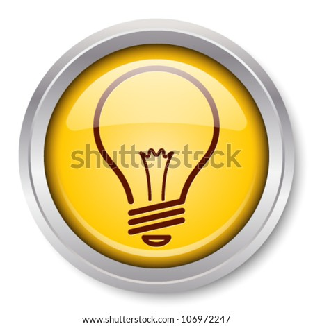Vector Light Bulb Icon Glossy Metallic Button. EPS10.