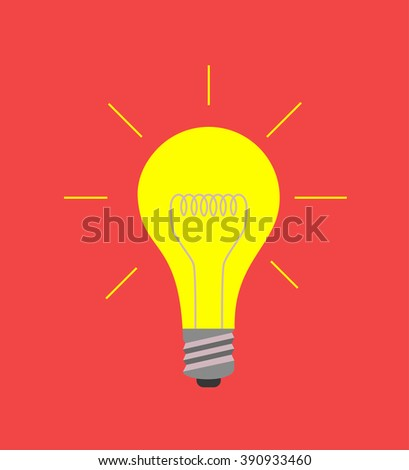 Vector light bulb icon on red, idea concept