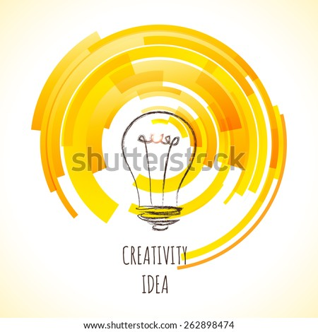 Vector light bulb icon with concept of idea. Doodle hand drawn sign. Illustration for print, web - stock vector
