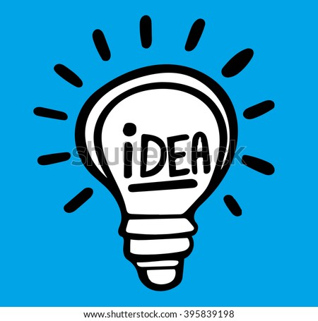 Vector light bulb icon with concept of idea. Illustration for print - stock vector