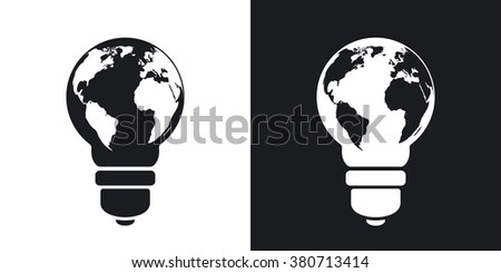 Vector light bulb icon with world map. Two-tone version on black and white background