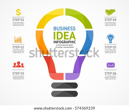 Vector Light Bulb Infographic Template Circle Stock Vector ...