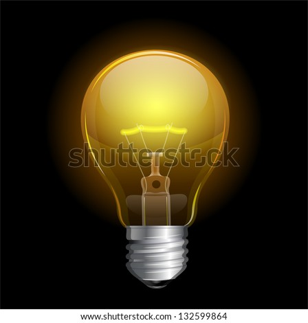 Vector Light bulb isolated on black - stock vector