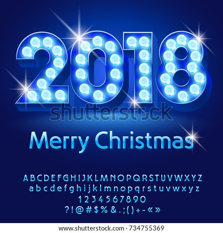 Vector Light Bulb Merry Christmas 2018 Greeting Card With Alphabet Set Of Letters Symbols And