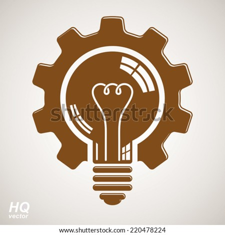 Vector light bulb shape, high quality cog wheel isolated on white background. Technical solution conceptual symbol, manufacturing and business idea icon, retro graphic gear.  - stock vector