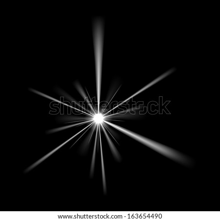 Vector Light Glare on Black Background, Eps 10 Vector, Gradient Mesh and Transparency Used, Raster Version Available - stock vector