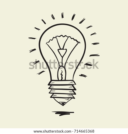 Vector light hand drawn sketch of a bulb