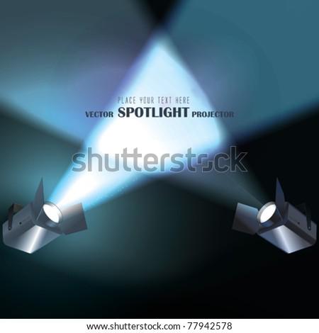 Vector light Projectors with spotlights - stock vector