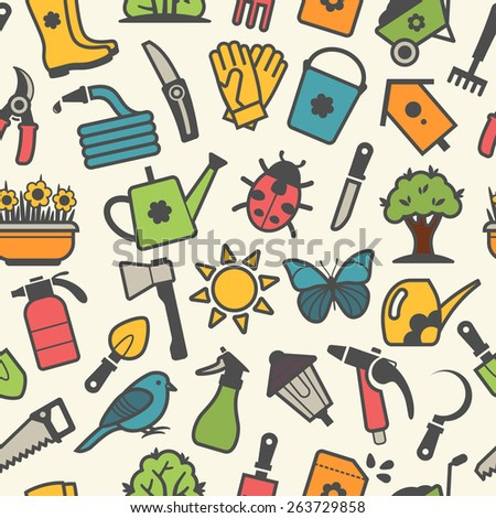Vector light seamless pattern of garden tools and accessories - stock vector