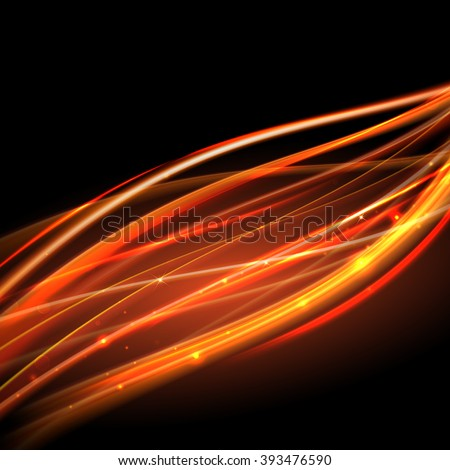 Vector light trace effect. Glowing spark swirl trail tracing on black background. - stock vector