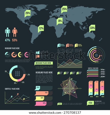 vector light vibrant color infographic design elements set map charts dark background