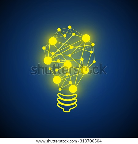 Vector : Lightbulb and circle network circle on blue background - stock vector