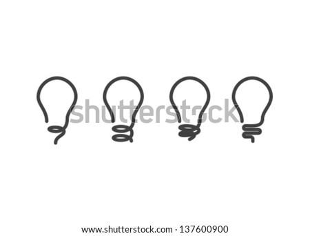 Vector Lightbulb Icon Set - stock vector