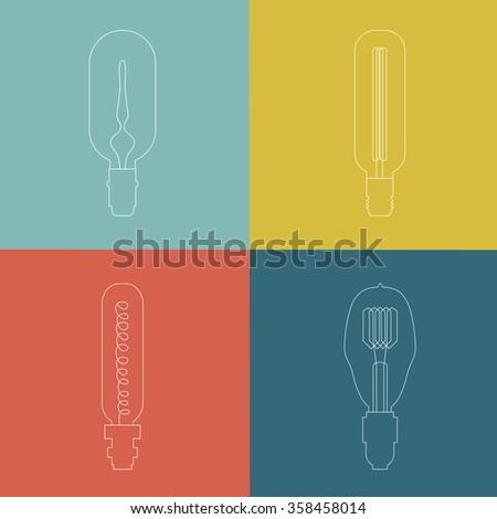 Vector Lightbulb Icon Set. Modern idea innovation light bulb concept. Lamp icons, thin line style, flat design. Vector illustration. - stock vector