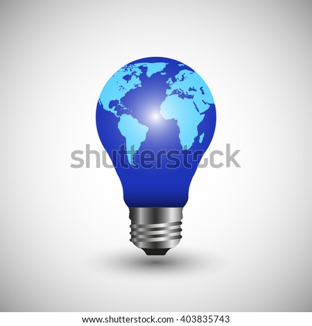 vector lightbulb with world map