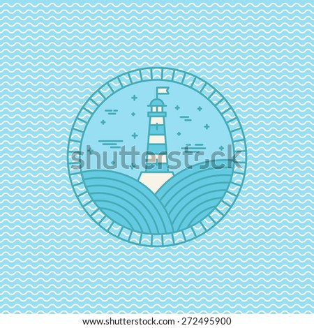 Vector lighthouse logo design template in trendy linear style - abstract emblem and badge on wave pattern - navigational and travel concept  - stock vector